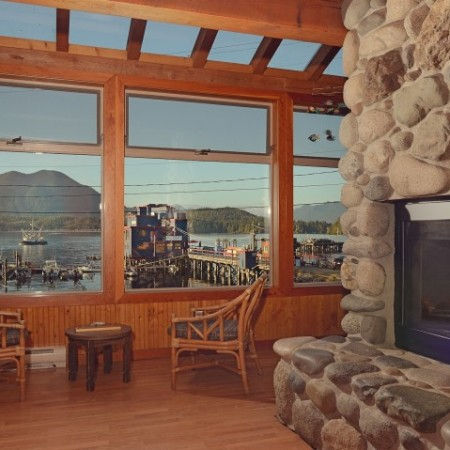 Fireside lounge looking out over the ocean at the Tofino hostel.