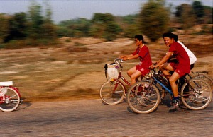 Fellow cyclists in Laos, southeast Asia