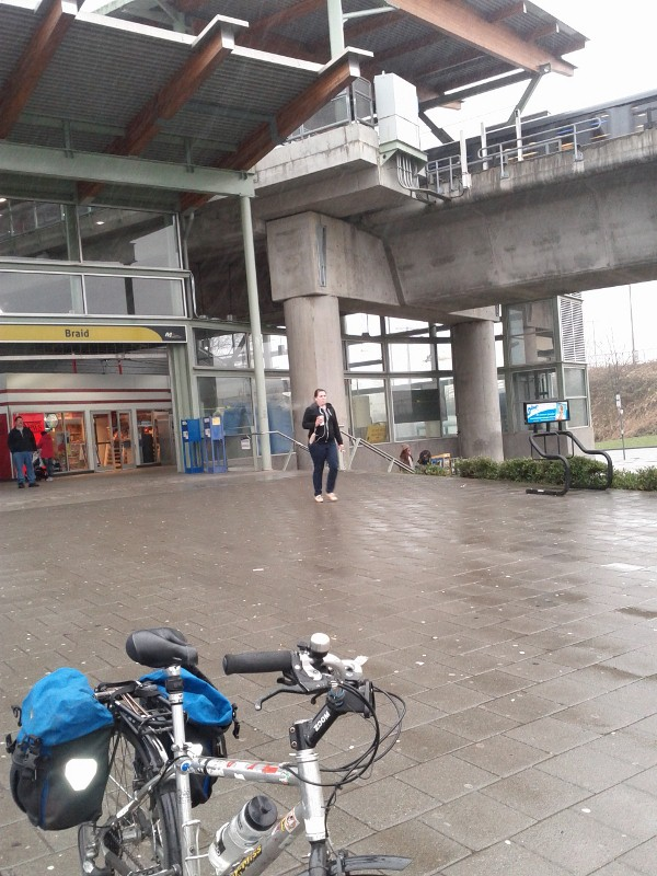 Bicycle in front of Braid Station on the Skytrain line