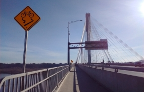 Cycle path on the Port Mann bridge across the Franser river between Coquitlam and Surrey