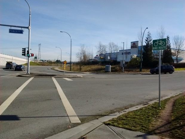 Intersection of United Boulevard and Fawcett Road in Coquitlam, BC