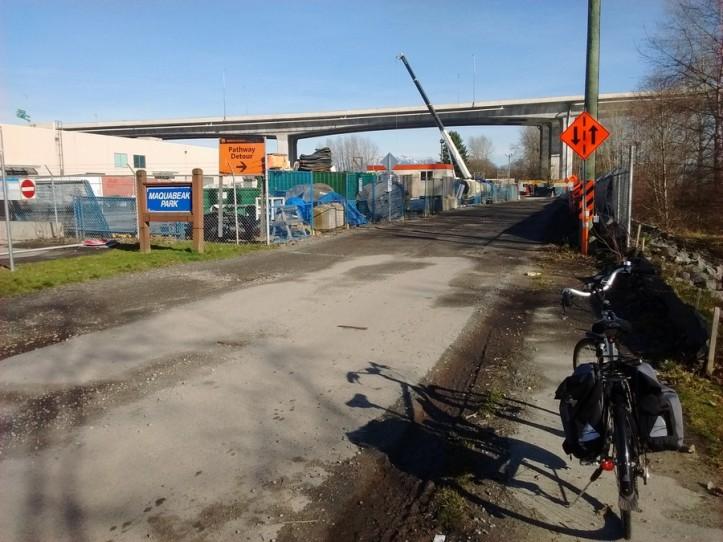 Still a construction zone In Macquabek Park under the Port Mann bridge.