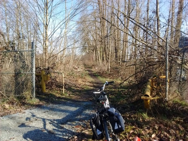 Old path next to the Pitt River leads to dyke trails, but not the Port Mann bridge.