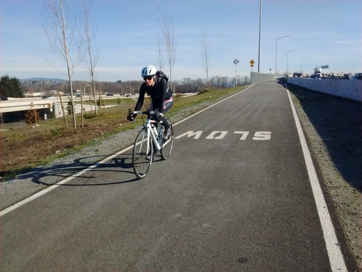 Bicycle entry ramp on to the Port Mann bridge from the western, Coquitlam side of the Fraser River.