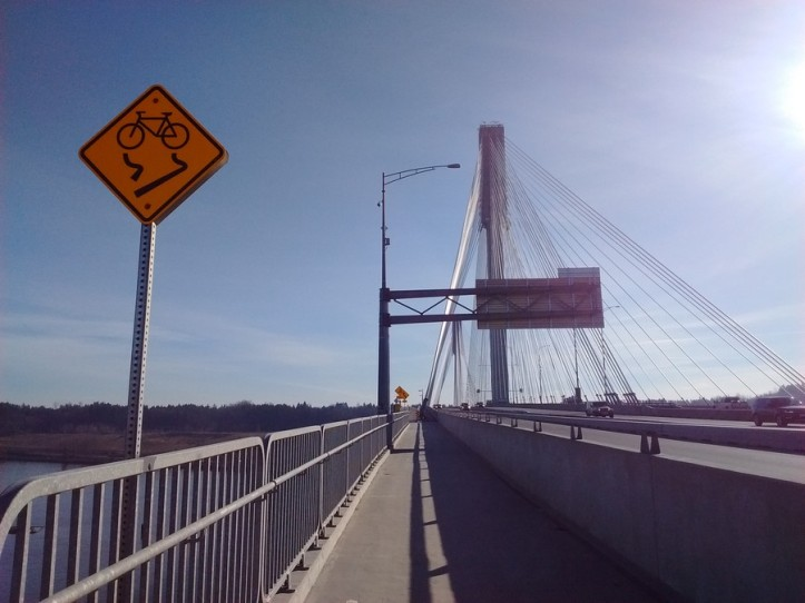 Mid-span on the bicycle path on the Port Mann bridge. Fraser River, BC.