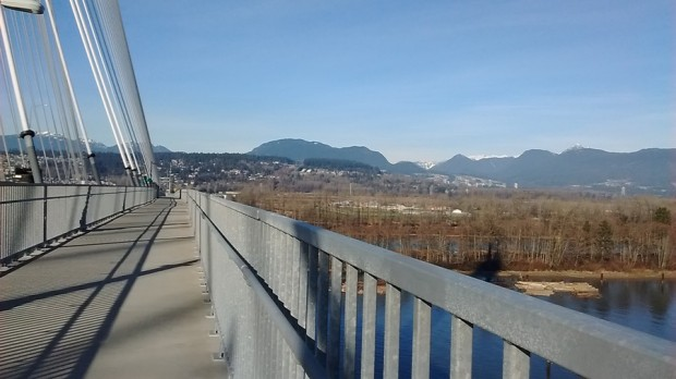Mid-span on the Port Mann bridge's bicycle route, looking north towards Coquitlam and Vancouver.