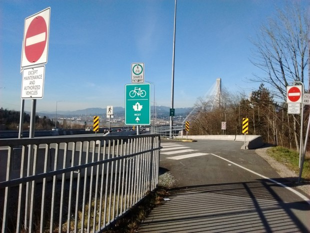 Looking north, the westbound entrance onto the cycle route of the Port Mann Bridge. Surrey, BC.