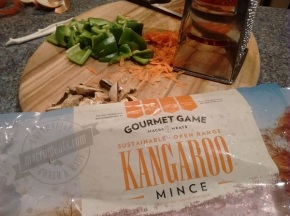 A package of minced kangaroo meat, produced by local company Macro Meats in Adelaide, Australia.