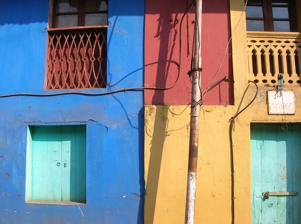 Colourful doors and windows in the Portuguese Quarter of Panjim, Goa, India.