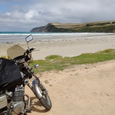The Honda Rebel on a beach near the Bridgewater Blowholes in Australia.